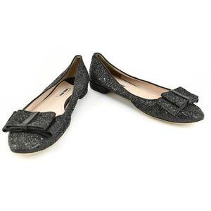 MIU MIU: Black Leather, Glittery Bow Ballet Flats